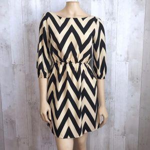 Everly Chevron Print Blouson Dress